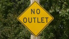No Outlet sign. Handheld rack focus. - stock footage