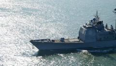 Navy Ship on the Open Ocean - stock footage