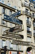 Stock Photo of Street sign with directions in Paris