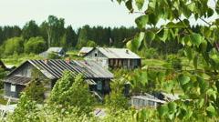 Russian Karelian Village Kojvuselga Landscape Stock Footage