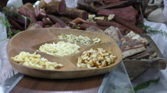 Tasting cheese at the market Stock Footage