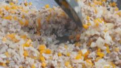 Vegetables and grounded meat stuffing in frying pan close-up 4K 2160p 30fps U Stock Footage