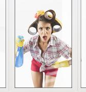 Astonished housewife Stock Photos