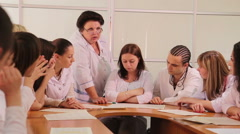 Interns in studying process - main view Stock Footage
