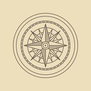 Round Linear Vintage Compass Logo. - stock illustration