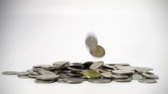 Malaysia Coins falling slow motion on white background. 1080p, 250fps Stock Footage