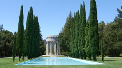 Static shot of water temple with beautiful columns Stock Footage