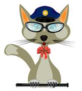 Cat in form of the police bodies - stock illustration