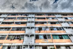 Typical Old Public Residential Building in Hong Kong - stock photo