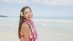 Beach woman smiling happy in sarong joyful bliss on travel vacation holidays Stock Footage