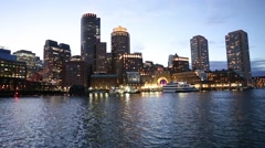 Boston Downtown Night Skyline Stock Footage