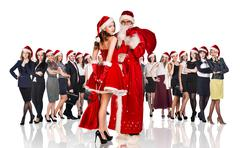 Father frost and woman in red xmas dress - stock photo