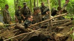German soldiers build defenses Stock Footage