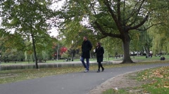 Boston Garden Couple Walking Autumn Fall Stock Footage