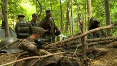 German soldiers building defense Stock Footage