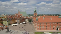 Warsaw, Poland. Royal Castle and the market square. Stock Footage