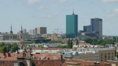 Warsaw, Poland. View on the roofs of the old town and modern buildings Stock Footage