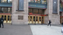 Boston South Train Station Entrance Stock Footage