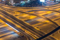 Dubai road junction during night hours Stock Photos