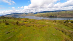 An aerial view of the Columbia River in the Pacific Northwest. - stock footage