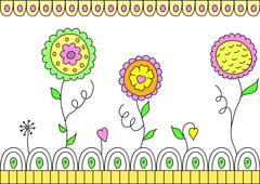 Beautiful vector flowers on white background Stock Illustration
