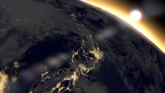 4k Space view earth sunrise Japan Stock Footage