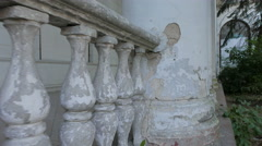Columns and balusters in the old crumbling pavilion. Park VDNKh, Moscow. - stock footage
