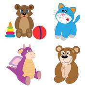 Stock Illustration of The toy set editable vector illustration..