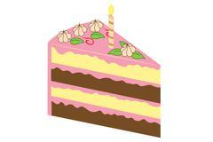 Piece of birthday cake - stock illustration