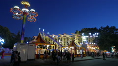 The evening in the amusement park. Stock Footage