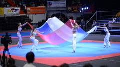Rhythmic gymnastics dance with Russian national flag Stock Footage