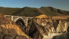 Bixby bridge wide pan Stock Footage