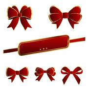 Luxury bows red color on white background - stock illustration