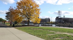 Providence River Greenway around Memorial Park in Fall/Autumn Stock Footage