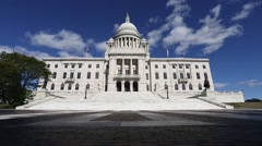 Rhode Island State House in Providence Blue Sky Stock Footage