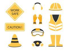 Safety first set caution symbol Stock Illustration