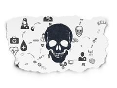 Health concept: Scull on Torn Paper background - stock illustration