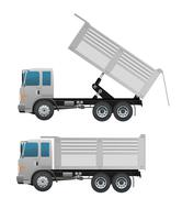 Turck dump and dumping ten wheel Stock Illustration