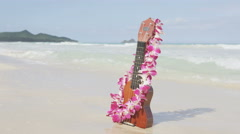 Hawaii concept with ukulele and Lei on beach Stock Footage