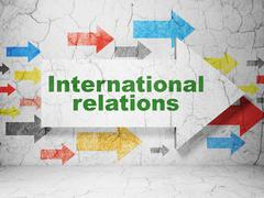 Stock Illustration of Politics concept: arrow with International Relations on grunge wall background