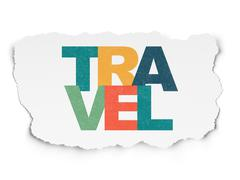 Stock Illustration of Holiday concept: Travel on Torn Paper background