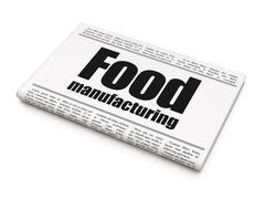 Industry concept: newspaper headline Food Manufacturing - stock illustration
