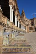 Spain square built for the Ibero-American Exposition of 1929, Sevilla, Andalu - stock photo