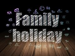 Travel concept: Family Holiday in grunge dark room Stock Illustration