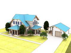 Render 3d cottage with a blue roof - stock illustration