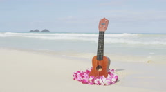 Ukulele and Lei on beach in Hawaii concept - stock footage