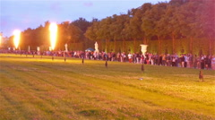 Blowing of fire show on the garden of Versaille castle - stock footage