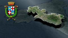Catania's province with Coat of arms animation map - stock footage