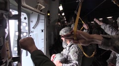BASE CHARLSTON, MAY 2015, US Air Force Soldier Count Backwards Parachute Stock Footage