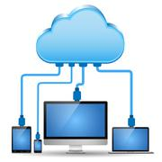 Electronic device connected to the cloud computing Stock Illustration